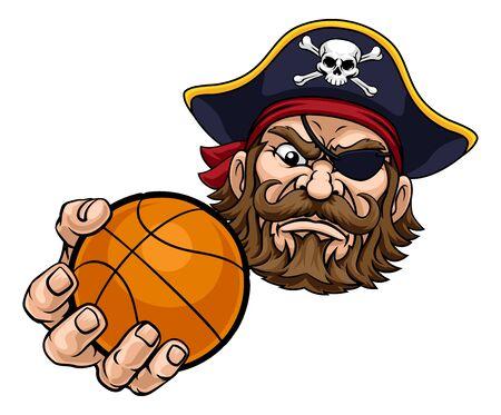 Pirate Basketball Ball Sports Mascot Cartoon Ilustración de vector