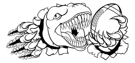 Dinosaur American Football Animal Sports Mascot