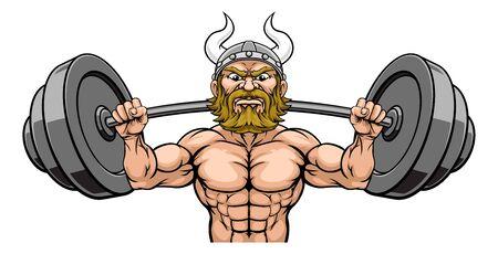 Viking Weight Lifting Mascot Muscle Gym Cartoon