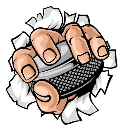 Hand holding Ice Hockey Puck Cartoon