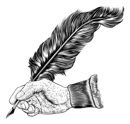 A hand holding writing with a quill feather antique ink pen. In a retro vintage engraved or etched woodcut print style.