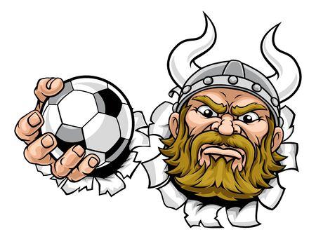 A viking soccer football sports mascot cartoon character holding a ball