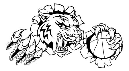 A tiger basketball player cartoon animal sports mascot holding a ball in its claw