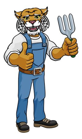 A wildcat gardener cartoon gardening animal mascot holding a garden fork tool and giving a thumbs up
