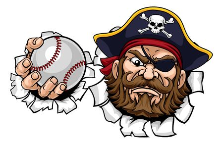 A pirate baseball sports mascot cartoon character holding a ball Stock Illustratie