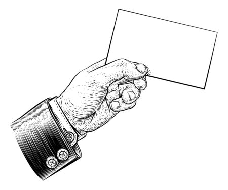 A hand in a suit holding a business card, letter, message, flyer or similar with copyspace. In a vintage engraved or etched woodcut print style