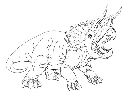 A dinosaur triceratops black and white outline cartoon like a kids coloring book page Illustration