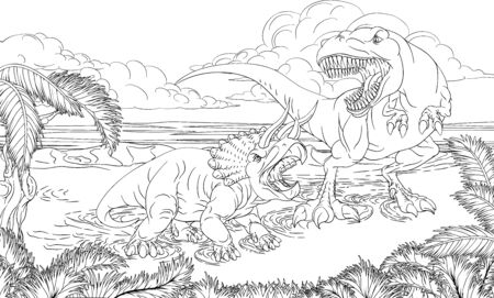 Dinosaur TRex Triceratops Scene Coloring Book Page Vektoros illusztráció