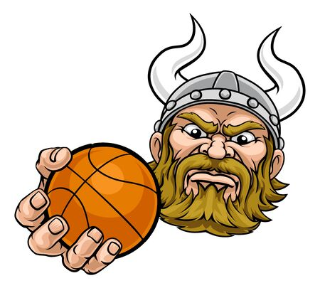 A viking basketball sports mascot cartoon character holding a ball
