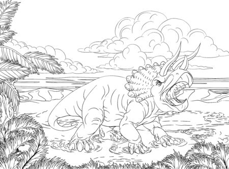 A dinosaur triceratops black and white outline cartoon scene like a kids coloring book page