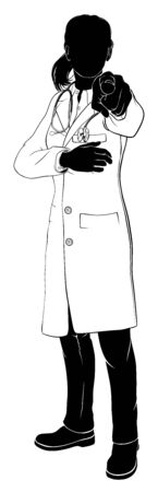A doctor woman in silhouette pointing at the viewer with her finger in a Needs You gesture. Illustration