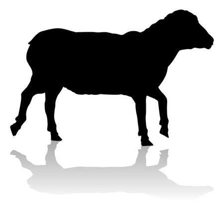 A sheep or lamb farm animal in silhouette