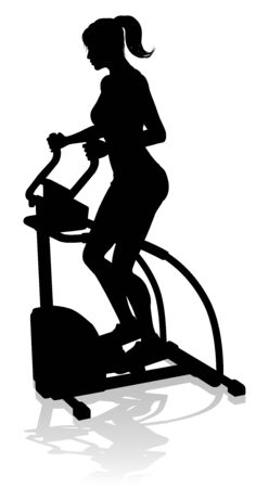 A woman in silhouette using an elliptical cross fit gym equipment exercise machine  Ilustração