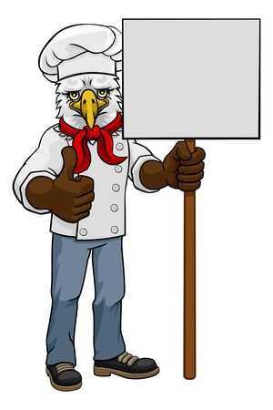 Eagle Chef Cartoon Restaurant Mascot Sign Stock Illustratie