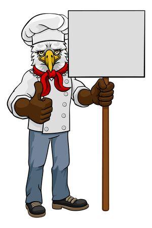Eagle Chef Cartoon Restaurant Mascot Sign Illustration