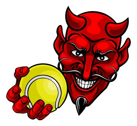 A devil or satan tennis sports mascot cartoon character holding a ball Stock Illustratie