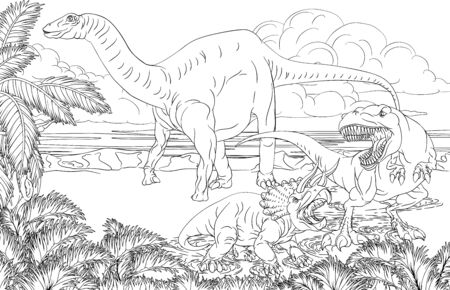 Dinosaur Scene Cartoon Coloring Book Page Stock Illustratie