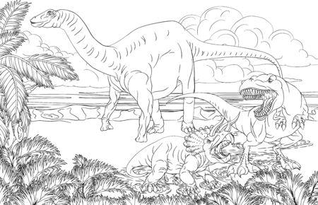 Dinosaur Scene Cartoon Coloring Book Page Illustration