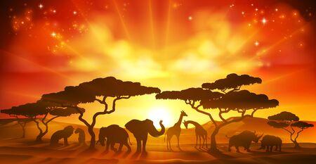 African Safari Animal Silhouettes Landscape Scene Ilustracja