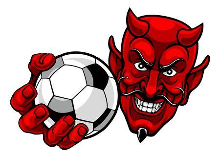 A devil or satan soccer football sports mascot cartoon character holding a ball
