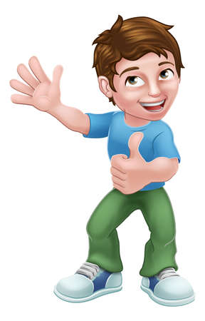 Kid Cartoon Boy Child Thumbs Up Ilustração