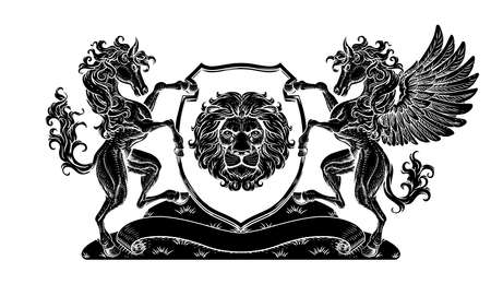 Crest Pegasus Horse Coat of Arms Lion Shield Seal