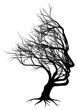 Optical Illusion Bare Tree Face Man Silhouette