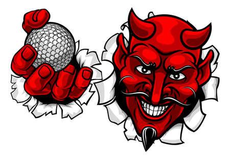 Devil Satan Golf Ball Sports Mascot Cartoon