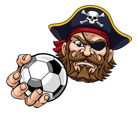 Pirate Soccer Football Ball Sports Mascot Cartoon