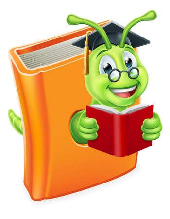 Graduate Bookworm Caterpillar Worm in Book Reading