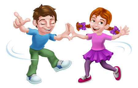 Boy and girl children cartoon kid characters happily dancing together