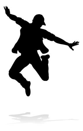 A male street dance hip hop dancer in silhouette Stock Illustratie