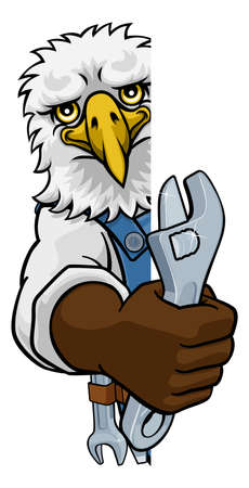 An eagle cartoon animal mascot plumber, mechanic or handyman builder construction maintenance contractor peeking around a sign holding a spanner or wrench Illustration