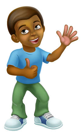 Black Cartoon Boy Child Kid Giving Thumbs Up