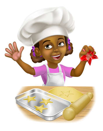 Black Girl Cartoon Child Chef Cook Baker Kid