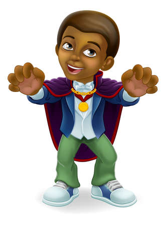 Black Child Boy Cartoon Halloween Vampire Costume