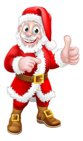 Santa Claus Thumbs Up Pointing Christmas Cartoon