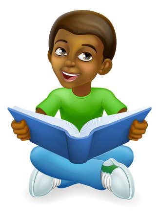 Black Child Boy Cartoon Kid Reading Book Vektorgrafik