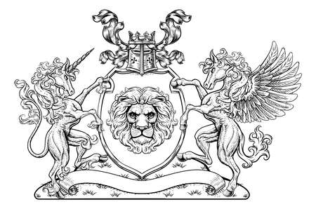 Coat of Arms Pegasus Unicorn Crest Lion Shield