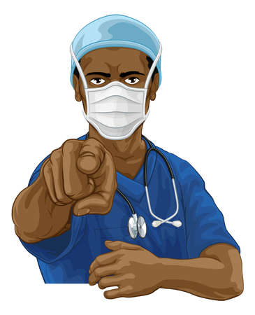 Nurse Doctor in PPE Mask Pointing Needs You