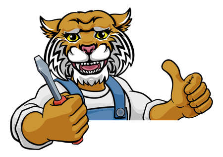 Wildcat Electrician Handyman Holding Screwdriver Illustration