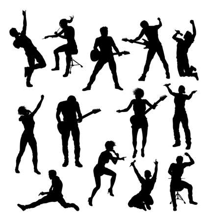 Musicians Rock Pop Band Silhouettes
