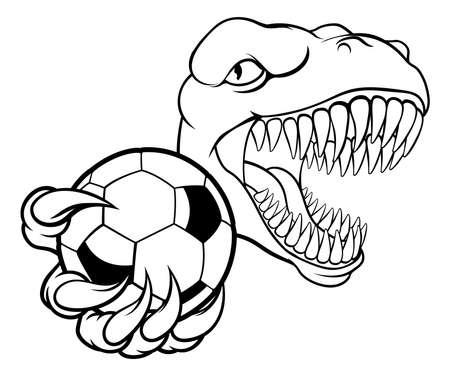 Dinosaur Soccer Football Player Sports Mascot Illustration