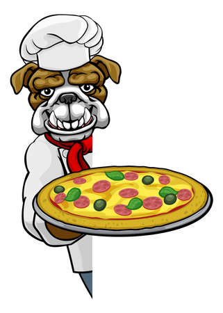 Bulldog Pizza Chef Cartoon Restaurant Mascot Sign Illustration