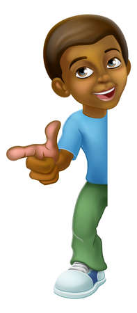Black Boy Cartoon Child Kid Pointing Sign 向量圖像