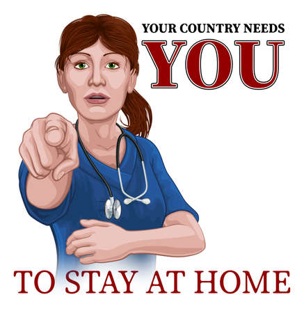 Doctor Nurse Woman Needs You Stay At Home Pointing