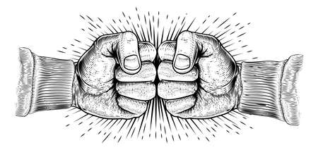 Fists Punching Vintage Woodcut Style Concept
