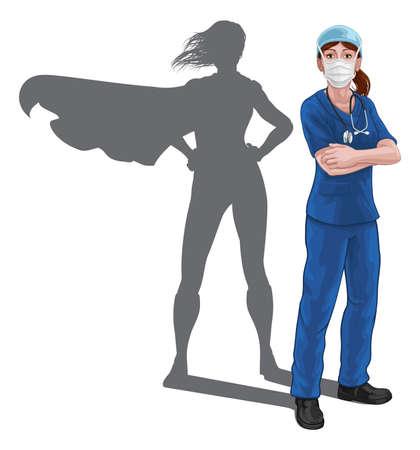 Superhero Nurse Doctor Woman Super Hero Shadow