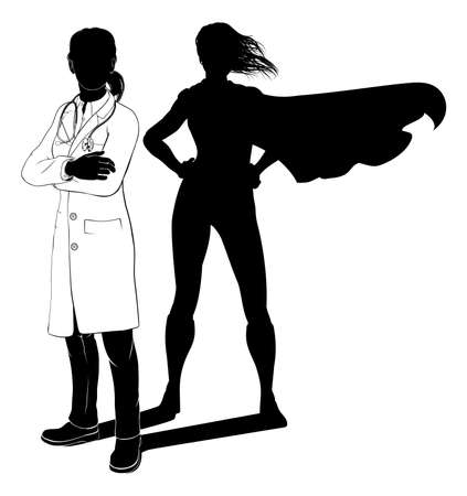 Doctor Woman Hero Silhouette Superhero Shadow
