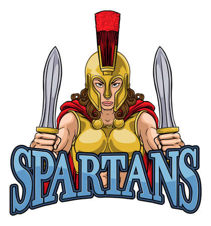 Spartan Trojan Female Warrior Gladiator Woman Illustration